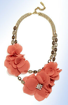 BAUBLEBAR Antiqued Gold-Tone 'Camellia' Floral Tulle & Crystal Necklace