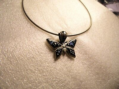 Native American Navajo Earl Plummer-Onyx/Opal Butterfly Pendant Necklace Signed