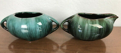 Vintage BMP Blue Mountain Pottery Sugar Bowl and Creamer Turquoise Blue Green
