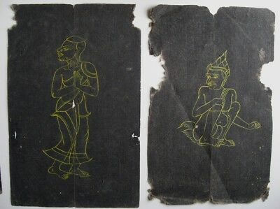 5 Antique Old Thailand Buddhist Manuscript Paintings with Holy Script