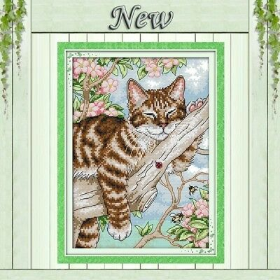 BNIP JOY SUNDAY A LAZY TABBY CAT on a TREE 14ct size 22 x 31 cm