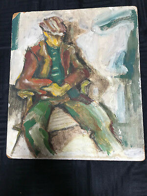 VINTAGE 40s portrait original hand painted oil PAINTING young man loose style