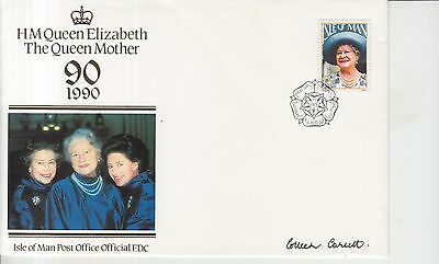1990 Isle of Man Queen Mother 90 Autographed First Day Cover.