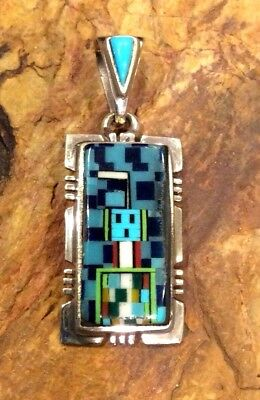 Native American Sterling Silver Turquoise Micro Inlay Yei Navajo Pendant