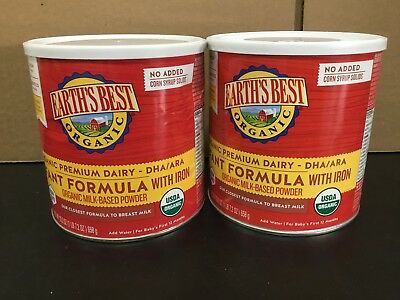 Earths Best Organic Infant Formula NON-GMO 23.2 oz 2 Cans Exp Sept. 2019+
