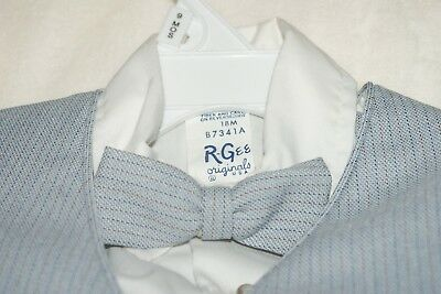 Toddler Boys 4 Piece Bow Tie Blue Pinstriped Suit 18 months