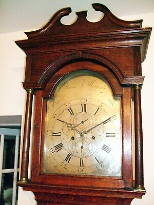 Super Georgian  longcase/ grandfather with silvered dial Thos Hogarth of Berwick