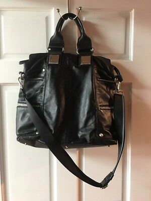 NICOLI Soft Black Leather Travel Bag-purse Footed Large Italy