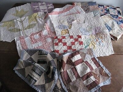 Lot of Antique Quilt Blocks & Pieces - Hand Stitched - Cutter