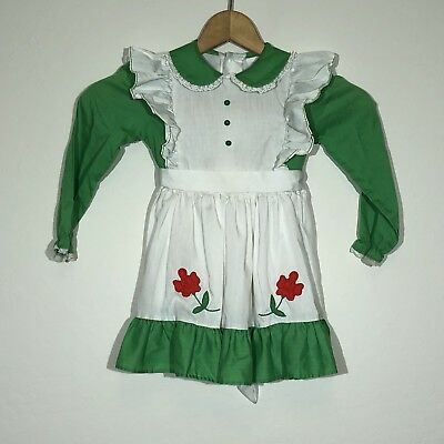 Vintage Sears Dress Winnie the Pooh Pinafore Apron Green Flower Disney Size 4