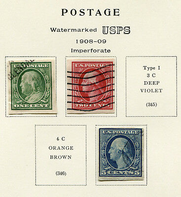 1908-1910 USA.  Part set of 3 USED.  Imperforate. SG 350, 351 & 354. CV £43.75.