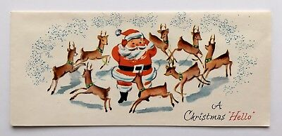 Unused Mid Century Vintage Christmas Card Santa Claus Reindeer Fawn Snow Hello