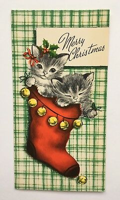 Vintage Christmas Card Gibson Kitty Cat Plaid Stocking Jingle Bell Kitten Holly