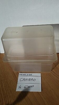 """(2)Cambro 1/3 Size Polycarbonate Clear Plastic Steam Prep Table Food Pan 6"""" Deep"""