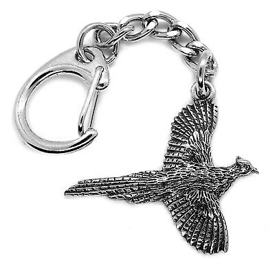 Pheasant Bird Pewter Keyring (Comes in Gift pouch, Made in The UK)