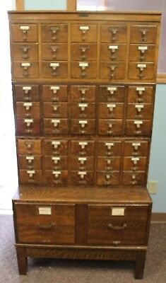 Antique Oak 45 Drawer Gaylord Bros Inc Stacking Oak Library Card Catalog File