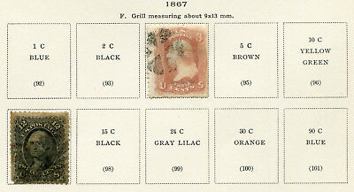 1867 USA.  Part set of 2 USED.  3c deep rose & 12c black USED.  Grill 9 x 13mm.