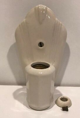 Vintage Porcelier Electric Wall Light Sconce Early 1950's Ceramic Cream Art Deco