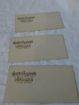 Vintage Lot of 3 VICTORIAN Be It Ever So Humble ...Home DIE CUT Calling Cards