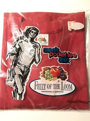 VTG 70s FRUIT of the LOOM RED POCKET TEE T SHIRT - LG - 42-44 MINT in PACK