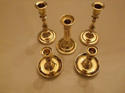 Lot of 5 Vintage Baldwin Brass CandleSticks made in USA