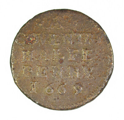 1669 Coventry 17th Century British Halfpenny Token