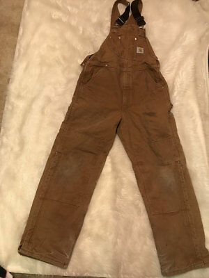 Carhartt Brown R02 BRN Duck Lined Insulated Bib Overalls Mens Size 34x32