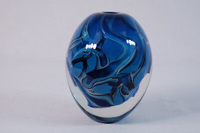 1990 Robert Eickholt Signed Art Glass Bud Vase Paperweight