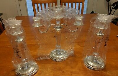 (GODINGER) Silver Plated and Hand Cutt Crystal Candle Holders (Never been used)