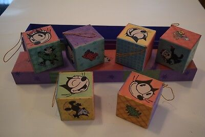 "Lot of 6 Felix the Cat 2"" x 2"" Square Box Cardboard Christmas Tree Ornaments NEW"