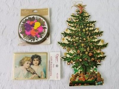 Vintage Hallmark Christmas Sealed Gift Cards, Coasters, Tree Ornament Ephemera