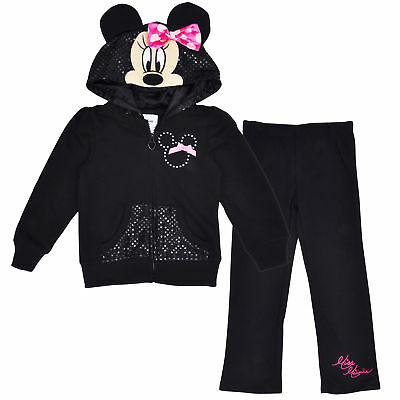 Disney Girls Minnie Mouse Hoodie Jacket Pants 2-Piece Set Outfit