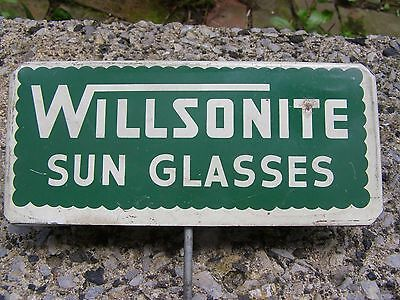 Willsonite Sunglasses Tin Sign Reading PA RARE No Ray Ban or Porcelain Man Cave