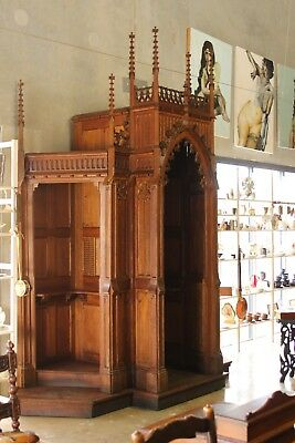 Antique Gothic Oak Confessional.  Large Architectural original Church piece.
