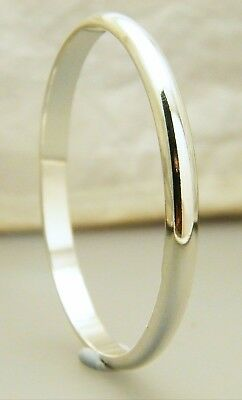 """Silver Half Round Creola Baby's Bangle Size 45mm - 1 3/4"""" Plated"""