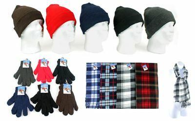Set of Winter Beanie Hats,Gloves & Checkered Scarves(Black,Gray,Red,Navy,Brown)