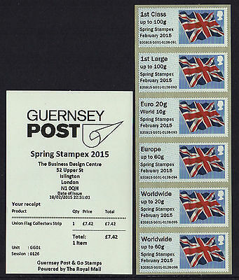 GG01 GUERNSEY UNION FLAG NYC undated STAMPEX SPRING 2015 Post Go COLLECTOR STRIP