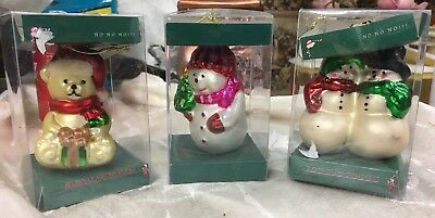 "Lot If 3 Christmas Blown Glass Ornaments 3""- 4"""