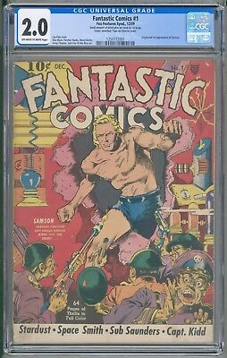 Fantastic Comics 1 CGC 2.0 First Samson Fox Lou Fine Cover