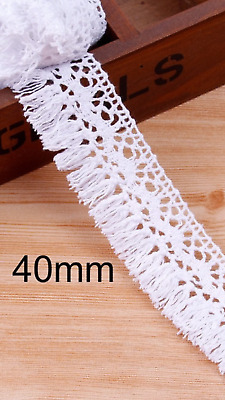 White 4cm Trim Tassel Fringe Cotton Lace Ribbon Price per 30cm DIY Craft