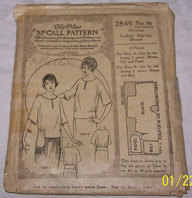 VINTAGE 1920'S NEW McCALL BLOUSE SEWING PATTERN #2849 SIZE 36 BUST