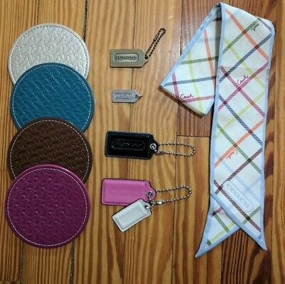 COACH Lot | Silk Scarf, Leather Coasters, & Purse Tags Charms | Accessories