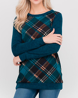 Teal Plaid Sweater Top