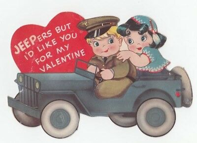 Vintage Greeting Card Valentine Couple Military Army Jeep WWII Era Carrington