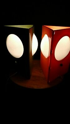 Vintage Mid Century 1970's Pair of Triangular Lamps Retro Mid Mod