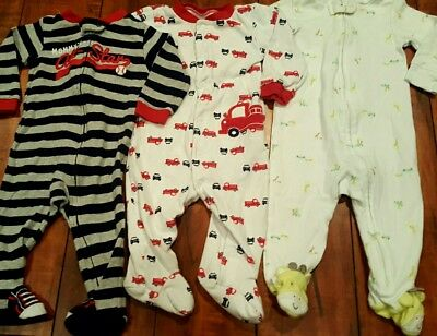 3 Piece Lot Baby Boy Carter's Sleepers Pjs Warm Outfits Set Size 9 months