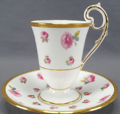 Minton Tiffany Pink Rose & Gold Encrusted Chocolate Cup & Saucer C. 1902 - 11 B