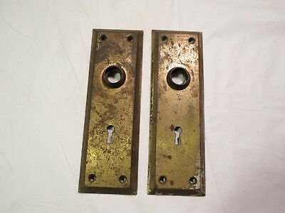 Antique matching set pair of 2 metal Skeleton key Door Knob Back plate backplate