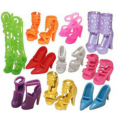 10 Pairs Party Daily Wear Dress Outfits Clothes Mini Shoes for Barbie Doll Brief