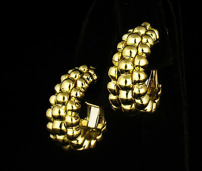 David Webb Signed Vintage Estate Solid 18K Yellow Gold Bubble Huggie Earrings